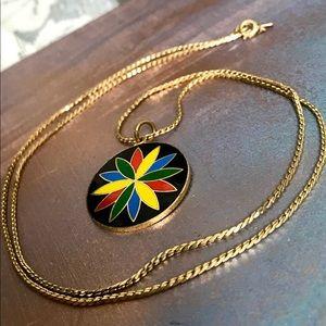 Vintage colorful. pendant necklace w/Monet chain
